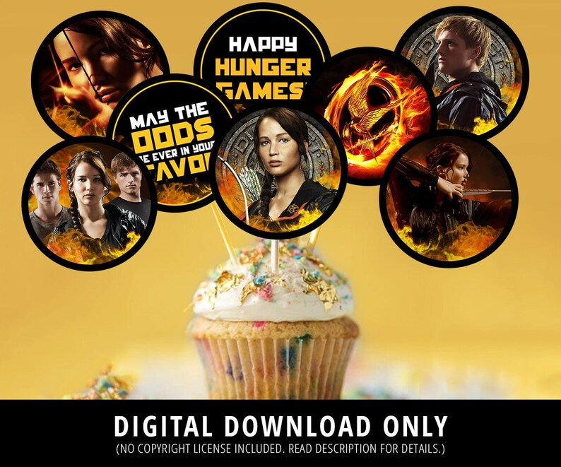 Hunger Games Cupcake Toppers Hunger Games Birthday Hunger Etsy