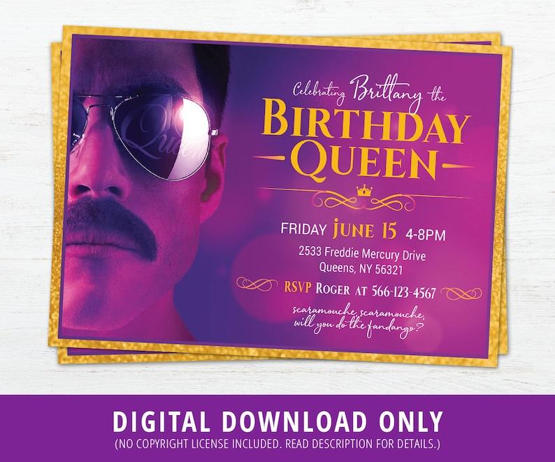 Queen Birthday Invitation, Bohemian Rhapsody Invite, Queen Band Invite,  Bohemian Rhapsody Movie Invite, Rami Malek, Freddie Mercury, DIGITAL