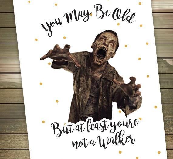 The Walking Dead Birthday Card Walker Zombies Happy Etsy