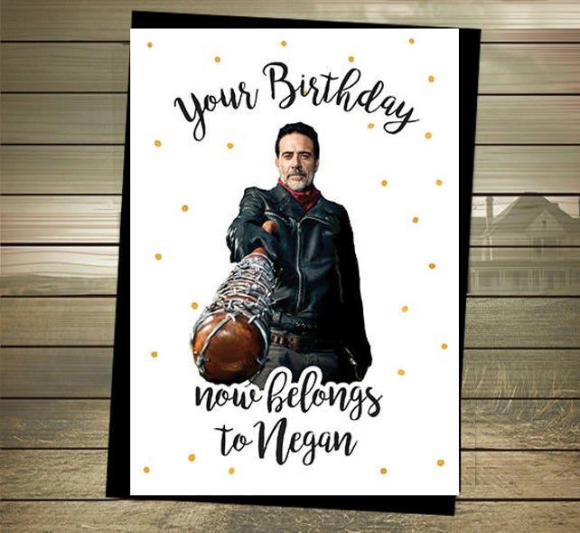 The Walking Dead Birthday Card Negan Happy Birthday Etsy