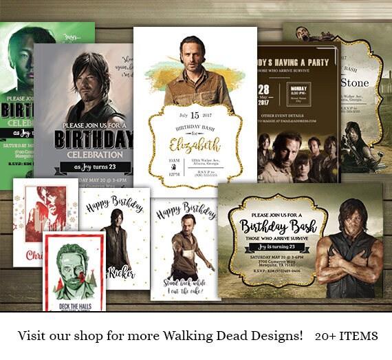 The Walking Dead Birthday Card Daryl Dixon Happy Birthday Etsy