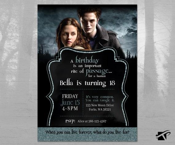 Twilight Birthday Invitation - Twilight Invite - Edward and Bella Birthday  Invite - Vampire Birthday Invite - Twilight Saga - DIGITAL