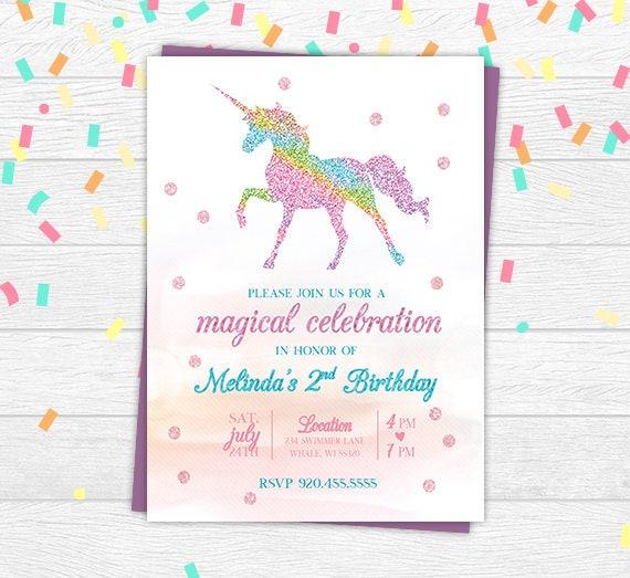 Unicorn Birthday Invitation Glitter