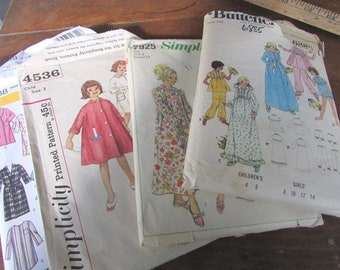 0151e5610a40 Children s Sewing Patterns Pajamas Nightgowns Bathrobes Simplicity 7925  4388 4536 Butterick 6885