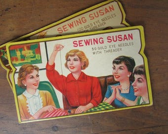 Sewing Susan Needle Case Vintage Sewing Notion Collectible Needle Book