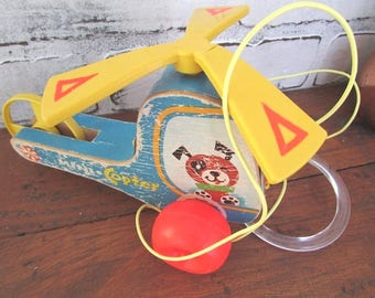 Fisher Price Helicopter Pull Toy Vintage Toddler Toy