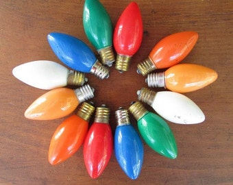 Christmas Tree Light Bulbs Vintage Large Colored Lights 12 Non WOrking