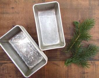 Vintage Aluminum Loaf Pans Tin Pans Primitive Tiny Small Gift Size Pans