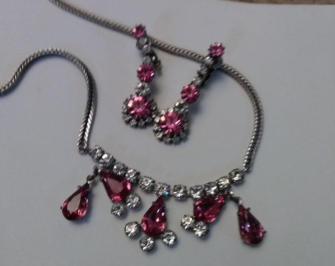 Vintage Pink Rhinestone Necklace & Earrings