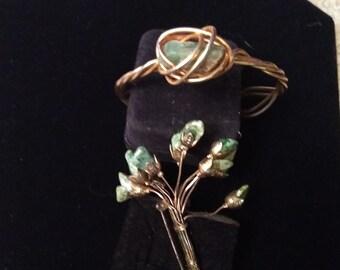 Vintage Rock Bouquet Brooch & Handmade Rock Bracelet