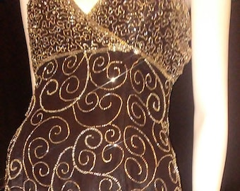 SALE! Silver Beaded Silk Dress Mark & John by Kopal