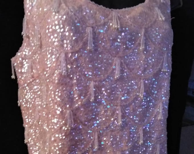 50's Pink Sequin and Beaded Top, Hong Kong, 100% Wool