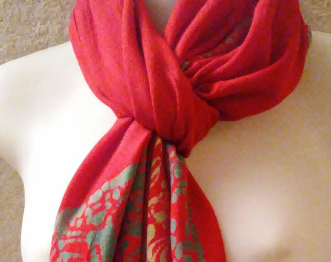 """Imported Batiked Rayon Scarf 62"""" long"""