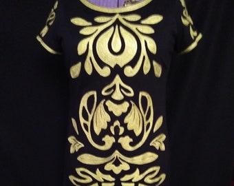 Yellow Embroidered Dark Navy Jersey Dress
