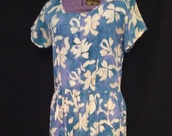 Vintage Shirazi Rayon Hawaiian Print Dress