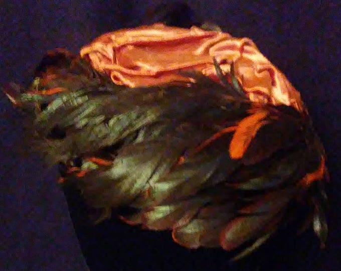 Vintage Woodmere Feather Hat in Orange