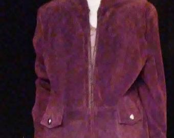 SALE! Vintage Suede Deep Purple Coat