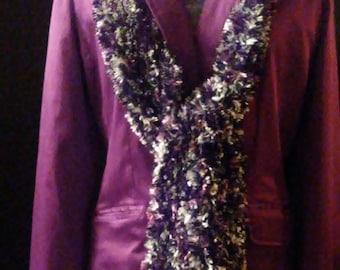 Handmade Scarf in Purple, Gray, Black & White