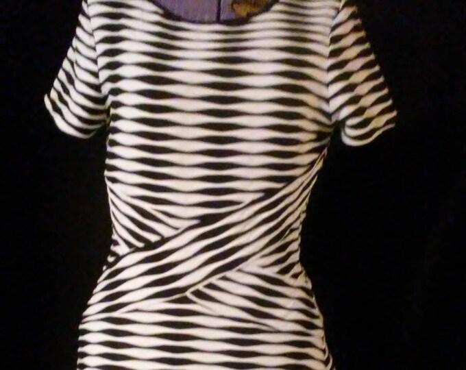 Beige by eci Striped Op Art Dress