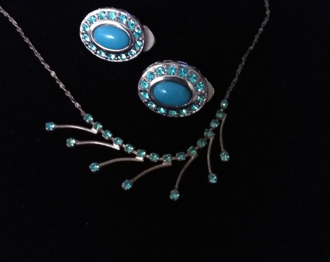 Turquoise Rhinestone Earrings and Necklace Set