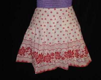 Adorable Red & White Cotton Skirt