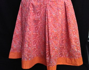 Orange Paisley Cotton Skirt
