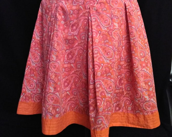 Orange Paisley Cotton Skirt