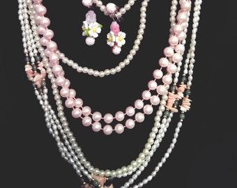 Vintage Pastel Easter Pearls & Earrings