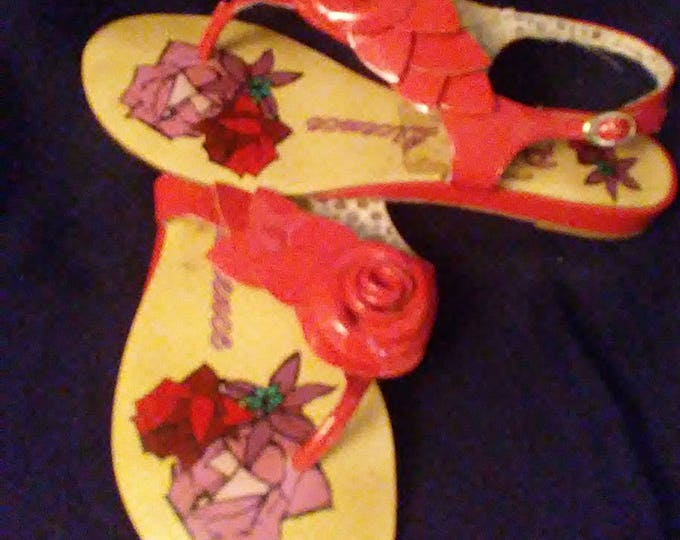 Red Patent Rose Bud Sandals