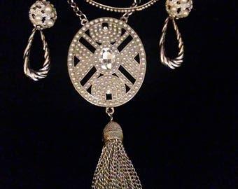 Vintage Costume Jewelry Set with Tassel