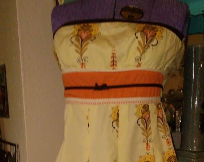 SALE! Vintage Cotton Strapless Sundress