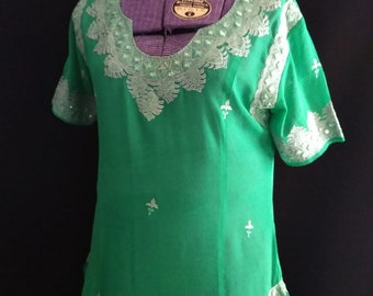 Vintage Indian Silk Embroidered Dress