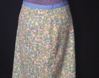 Peach Floral Cotton Summer Skirt