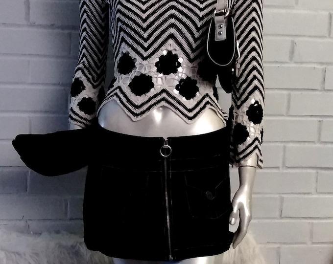 Vintage 80's Heavy Black Suede Mini Skirt