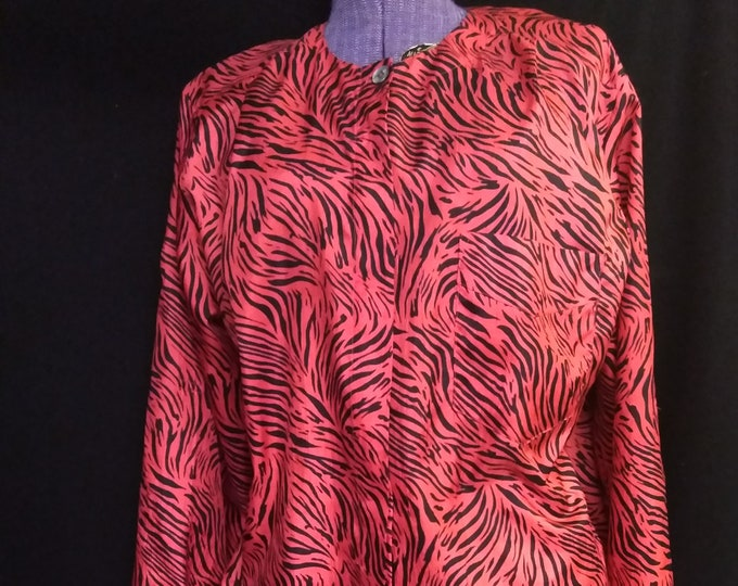Vintage 80's Tiger Blouse- Halloween Colors