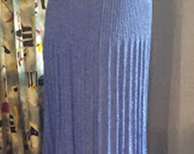 Vintage Rayon Knit Maxi Skirt in Periwinkle