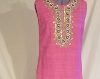 """Vintage Hot Pink Bollywood """"Silks Of The Orient"""" Raw Silk Embellished Maxi"""