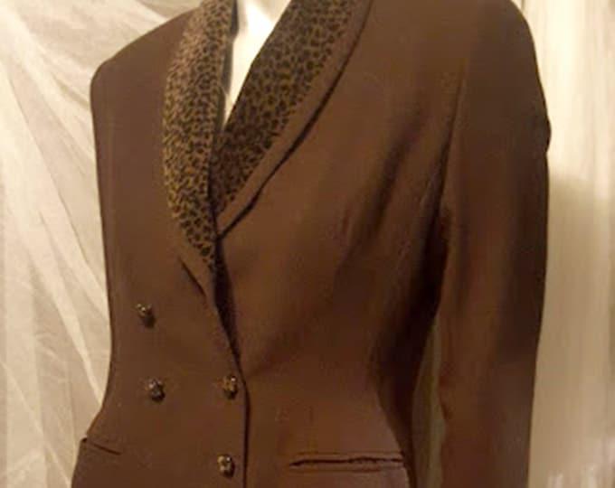 Vintage Morgan Taylor Rayon & Poly Blazer, Leopard Trimmed