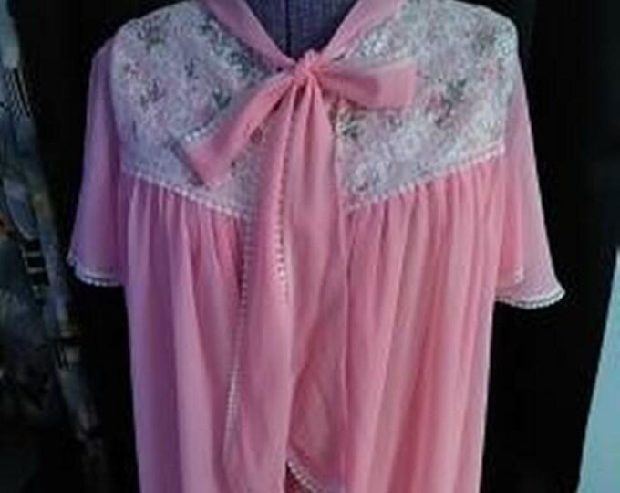Vintage 60's Pink Chiffon Babydoll Negligee & Robe