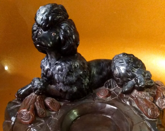 Vintage 40's/50's Heavy & Intricate Chalkware Plaster Poodle