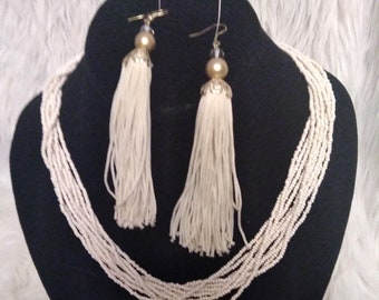 Vintage 90's Fringed Earrings & Beaded Necklace Set