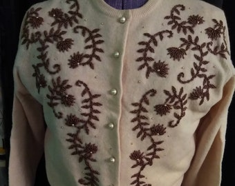 Vintage 1950's Beaded Wool Sweater, Hong Kong