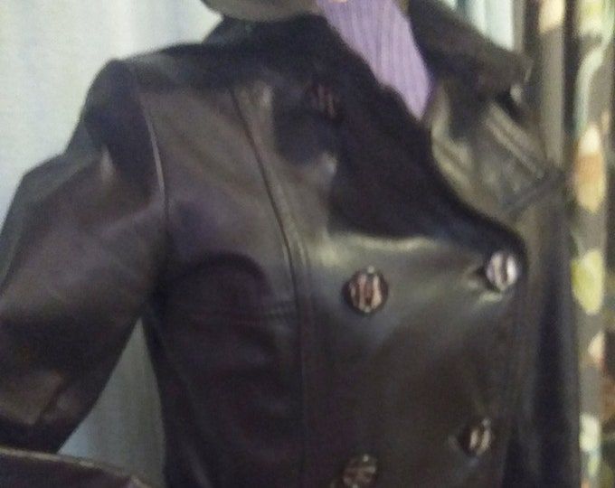 Amazing Vintage 70's Dark Brown Leather Coat Double-Breasted Maxi