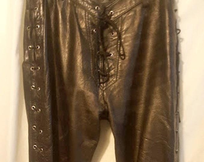 Vintage German Lace-Up Leather Biker Pants