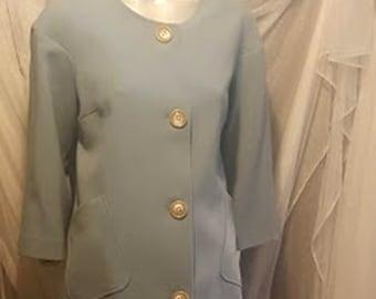 Vintage Italian Wool Coat in Baby Blue