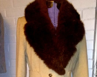 Vintage 70's Domino Wool Coat/Faux Fur