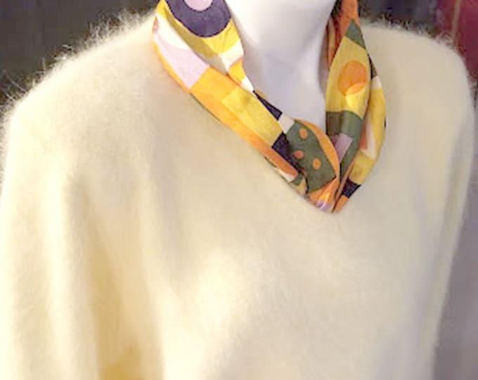 Vintage 80's Pale Yellow Soft Angora Sweater