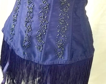 Vintage Frederick's of Hollywood Fringed, Beaded Corset