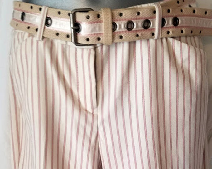 Vintage Y2K Pink Striped Baggy Trousers with Belt