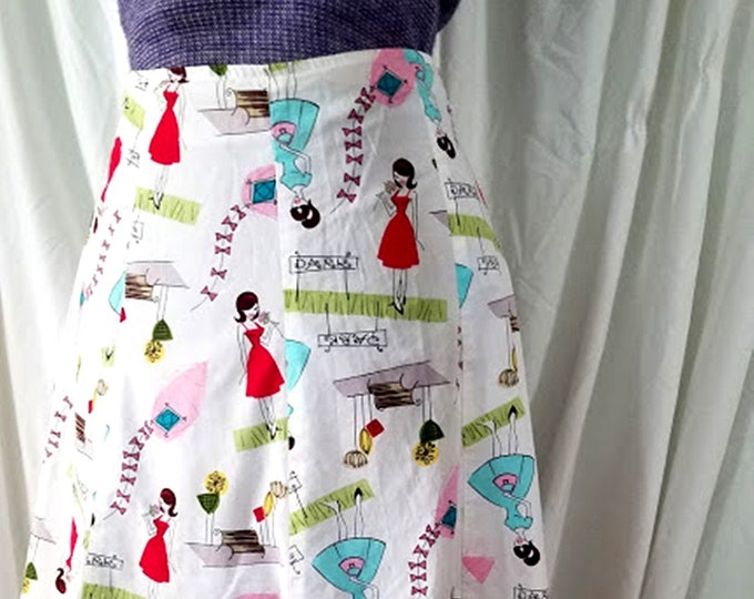 Adorable Girl At The Park 60's Print Cotton Skirt
